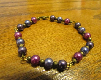 Purple and blue bracelet , Bronze bracelet , Beaded bracelet