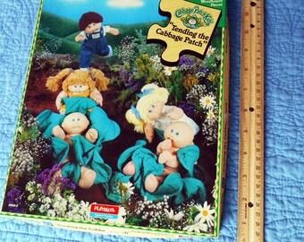 SALE Cabbage Patch Puzzle,Playskool , 1984 Puzzle, Children's Puzzle, Woodboard Puzzle, Vintage Puzzle,Tending Cabbage Patch, Patch Kids