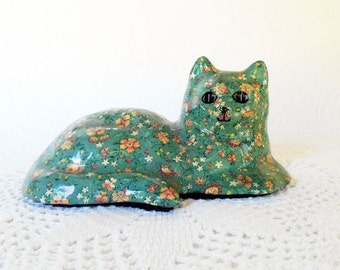 Vintage Calico Cat, Paper Mache Resin Cat, Dusty Blue Pink Calico Flower cat, Handmade Cat,Floral Print Cat,Paperweight Cat, Cottage Chic