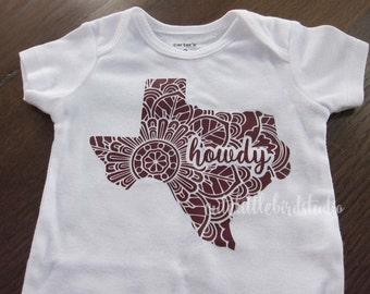 Texas Howdy Baby Bodysuit - Mandala Print, Aggies Maroon, Great Gift!