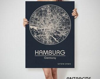 HAMBURG Germany map Hamburg, Hamburg Germany, Hamburg map, Hamburg print, Hamburg map print, Hamburg map art, Hamburg street map