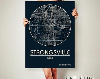 STRONGSVILLE Ohio CANVAS Map Strongsville Ohio Poster City Map Strongsville Ohio Art Print Strongsville Ohio poster Strongsville Ohio map