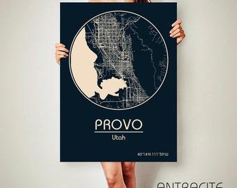 PROVO Utah CANVAS Map Provo Utah Poster City Map Provo Utah Art Print Provo Utah