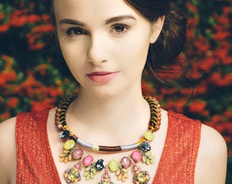 Stone set cotton wrapped necklace