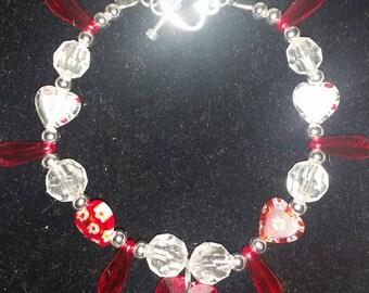 Red Heart beaded Bracelet.