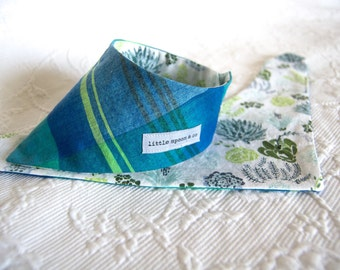 Siobhan - reversible blue/green plaid and succulents dog bandana with double snap closure