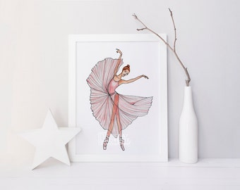 INSTANT DIGITAL DOWNLOAD, Fashion Illustration, Fashion Print, Tiny Dancer, Gift for Dancer, dancer painting, dancer silhouette, Ballet