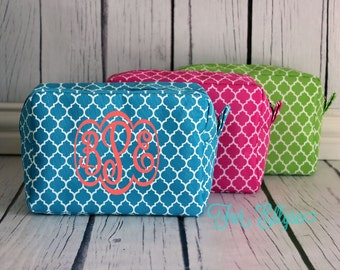 TURQUOISE Quatrefoil Cosmetic Bag - Personalized or Monogrammed