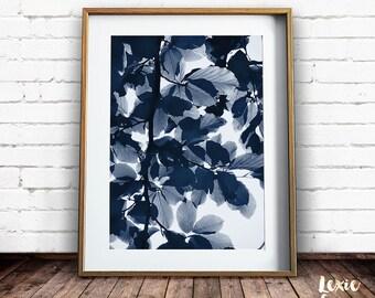 Indigo Leaves Print, Tree Print, Leaf Print, Beech Leaves, Nature Photography, Leaves Print, Modern Plant Print, Printable Art