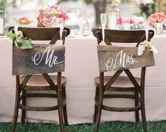 Mr & Mrs Hand Painted Signs