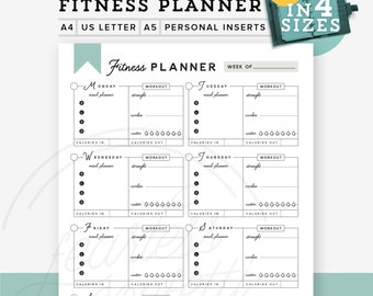 Fitness planner printable PDF, Printable fitness planner, Diy todo list, 4 sizes & Personal Inserts, Fitness Workout INSTANT DOWNLOAD