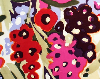 Caetano in Fuchsia by Alexander Henry Cool Palette Large Scale Stylized Floral Print Voile 100% Cotton - Half Yard