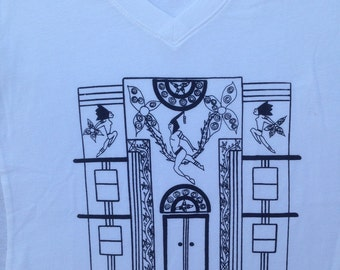 Art Deco Tee Shirt- Artists Tee Shirt- Art Nouveau Tee Shirt- Art Deco Architecture Tee- Gift for Artists- Art Deco Gift- Hand Drawn- Large