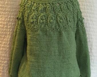 Handknit Pullover Sweater - Womens