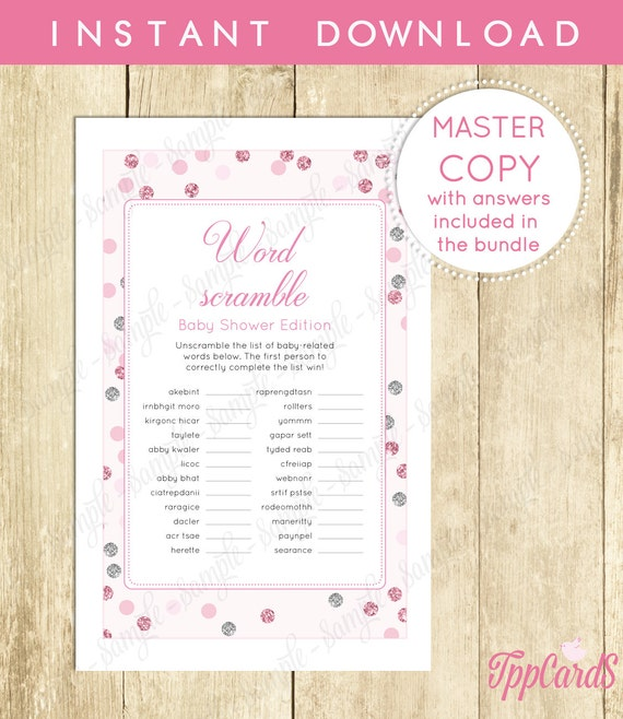 pink and silver baby shower word scramble game printable instant