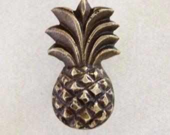 2x 4.5cm Brass Pineapple Tropical Draw Pull / Handles, Balinese, Indonesian, Beach Chic