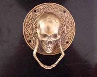 Brass Skull Door Knocker, Goth, Day of the Dead, Alternative Living