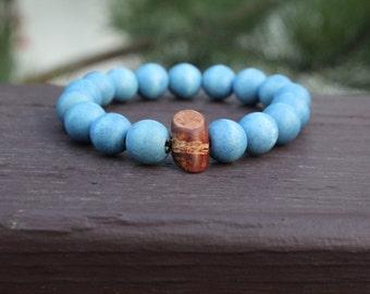 "Round 12mm ""Lt. Blue"" Bracelet"