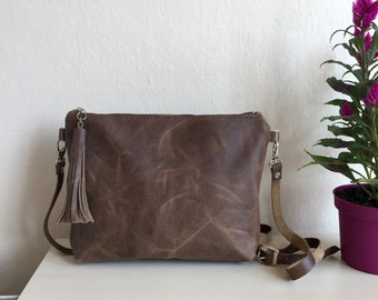 Distressed Leather Crossbody Bag,Brown Leather Crossbody Bag,Brown Leather Purse,Boho Crossbody Bag,Brown leather Bag,Distressed Leather Bag