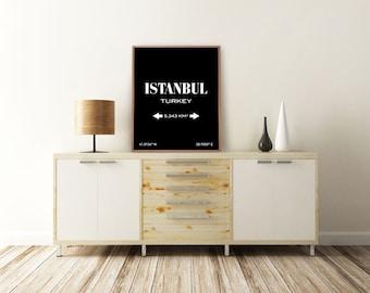 ISTANBUL PRINT. Istanbul, Turkey. Istanbul Art. City Poster. City Print. City Map. Typography Print. Printable Art. Minimalist Poster.