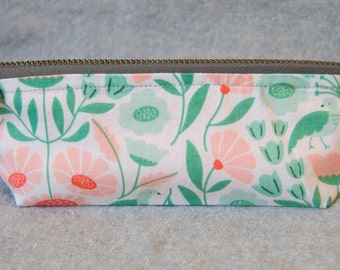 Cotton Pencil or Notions Bag with Zipper- Victorian Afternoon (Pencil Case, Notions Bag, Cosmetics Brush Bag)