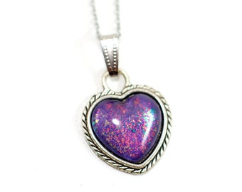 Heart Purple Galaxy pendant