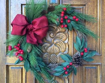 SALE / Pine and Berry Wreath / Winter Wreath / Holiday Wreath / Christmas Wreath / Red and Greeen Wreath / Red Berry Wreath / Pine Wreath