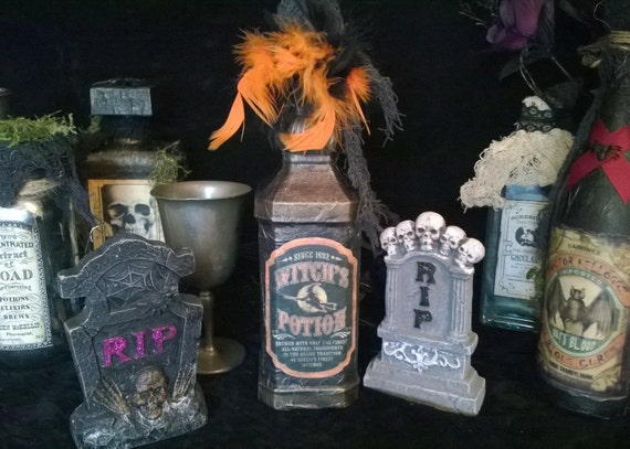Halloween WITCHES POTION CARBARLIC Acid Bottle 2 sided Large Repurposed Glass Bottle Black Bronze Accent Pirate Or Poison Bottle Feathers