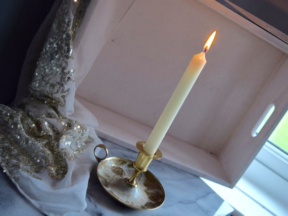 Decorative enamel/brass chamber stick candle holder, enamel floral decoration, wedding gift, anniversary gift, celebration, housewarming
