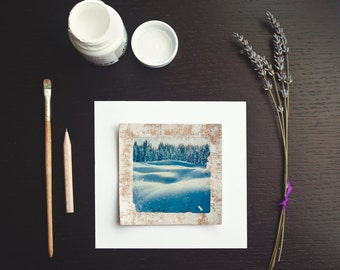 Winter photo print, Winter photo prints, Winter snow print, Blue White, Mountain, Landscape photography, Nature photography, 4x4, Serenity