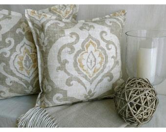 Linen pillow, Covington designer pillow cover, Paisley pillow, beach pillow, 18x18 pillow cover, beach decor, beach House pillow, gold ivory