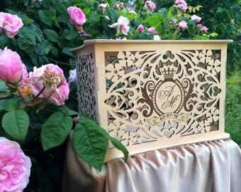Personalised wooden wedding money box  / Savings box / Wedding card box holder / wedding money box / card holder / Box with Card Slot/