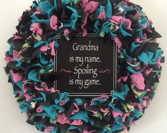 Multicolor wreath, grandma wreath, nana, grandmother, front door decoration, rag wreath, pink turquoise gray and black, gift idea