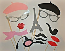 Paris Photo Booth Props, Paris Baby Shower, Chanel Party, Parisian Wedding, Set of 14