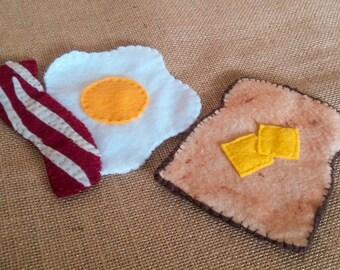 Felt Eggs, Bacon, and Toast Coaster/Mug Rug Felt Play Food