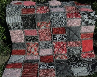 Quilt Throw - Prayer, Encouragement Quilt in Reds, Blacks and Grays