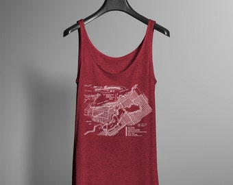 Vancouver Shirt - Vintage Map of Vancouver Tank - YVR Pacific Northwest West Coast Flowy Yogawear Tee