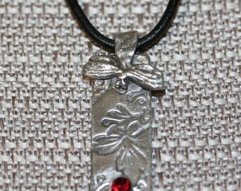 Ruby Dragonfly Fine Silver Pendant