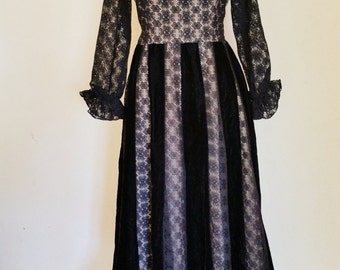 Vintage Black Velvet and Lace Dress