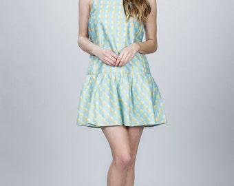 Dotted Low Waist Peplum Dress