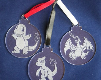 Pokemon Evolutions decoration set, Charmander, Bulbasaur or Squirtle in sets of 3 ornaments.