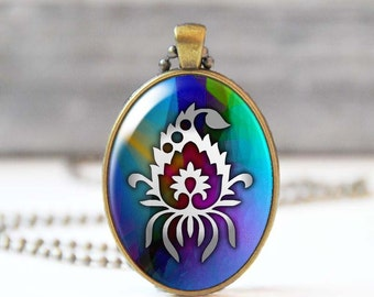 Charm necklace, Flower photo necklace, Oval Glass dome pendant, Wearable art jewelry, 5023-11