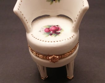Porcelain Chair Gold Accent Trinket Box with Plums Design