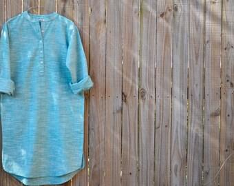 Shirt Dress - Handloom Cotton Light Mint Green