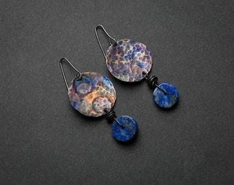 Copper earrings Handmade earrings Sterling silver Bohemian earrings Gift for her Blue stone Lapis lazuli Rough jewelry Rough earrings Simple