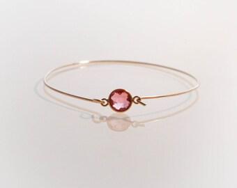 14k Gold Hot Pink Rubellite Quartz Bangle Bracelet - Multi Faceted Crystal Gemstone Vermeil Bezeled Minimalist