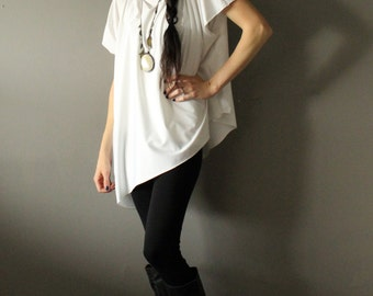 Stretch Jersey Loose Fit Asymmetrical White Tunic