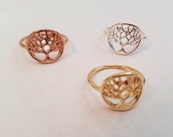 Tree Ring Plated with 18k Gold/ Rose Gold/ Silver