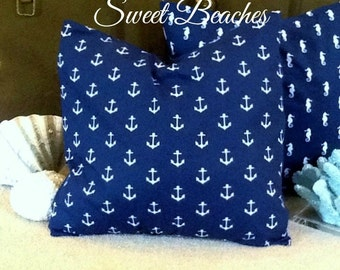 Anchor  Print 18 X 18 Beach Pillow Cushion  Covers Seaside Ocean Coastal Nautical Decor