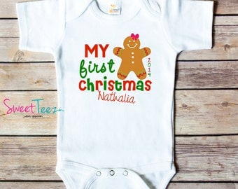 My First Christmas Baby Bodysuit Gingerbread man Baby Personalized